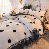 珊瑚絨四件套床裙款被套雙面加絨床上用品冬季【英賽德3C數碼館】