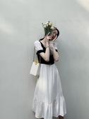 厭世風egg法式喪系過膝有洋氣質的連身裙子中長款夏減齡少女顯瘦