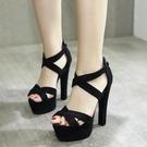 高跟涼鞋高跟女鞋14cm超高粗跟夏季涼鞋 模特走秀舞台演出鞋【全館免運】
