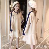 大尺碼孕婦冬裝長袖上衣秋冬新款時尚加絨荷葉擺毛呢連衣裙哺乳裙子 QQ13224『MG大尺碼』