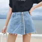 牛仔短褲女韓版學生夏裝chic熱褲大碼200斤胖mm寬鬆顯瘦闊腿褲裙     麥吉良品
