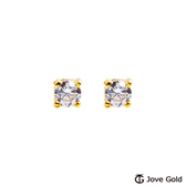 Jove gold 漾金飾 晶鑽戀人黃金耳環-小