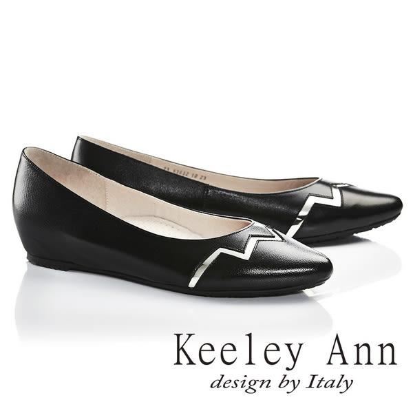 ★2017春夏★Keeley Ann獨特魅力~金屬光澤閃電OL全真皮微內增高尖頭鞋(黑色)