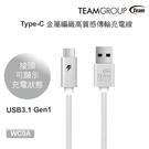 【94號鋪】TEAM 十銓 Type-C 金屬編織高質感傳輸充電線100cm WC0A