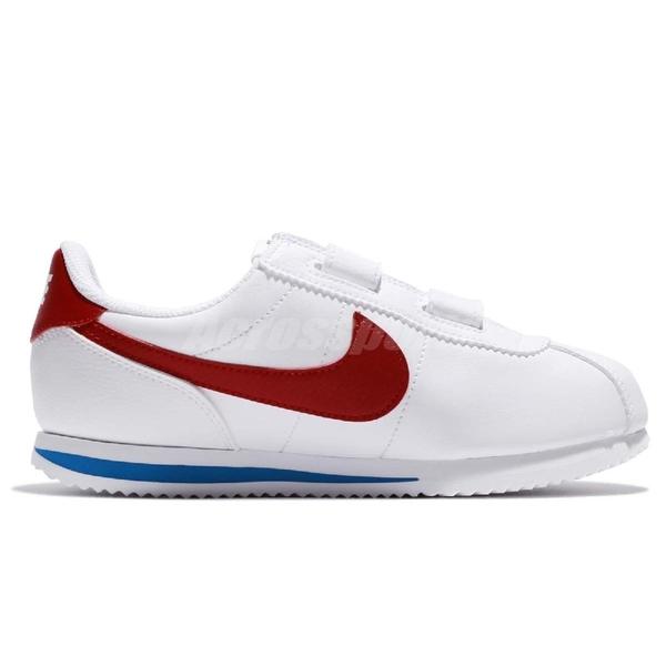 Nike 休閒鞋 Cortez Basic SL PSV 白 紅 藍 童鞋 中童鞋 OG 阿甘鞋 魔鬼氈 運動鞋【ACS】 904767-103