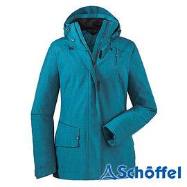 德國 SCHOFFEL 女 防水透氣 多功能附帽外套 水藍 2011152