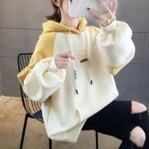 連帽T恤 加絨加厚衛衣少女秋冬裝2020年新款初中高中學生正韓寬鬆百搭外套-米蘭街頭
