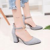 【優選】一字扣帶涼鞋女粗跟高跟女士羅馬鞋女鞋子