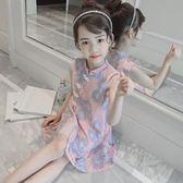 旗袍 女童旗袍夏裝2018新款正韓童裝兒童公主裙子中大童蕾絲洋裝 連身裙洋氣  萬聖節禮物