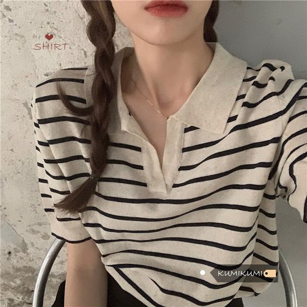 慵懶風條紋V領套頭polo衫女裝夏季百搭復古t恤