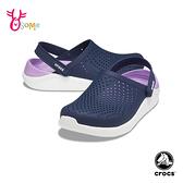 Crocs卡駱馳洞洞鞋 女鞋 LITERIDE 柔軟布希鞋 園丁鞋 防水布希鞋 涼拖鞋 A1785#藍紫◆OSOME奧森鞋業