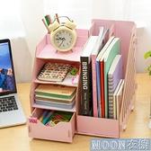 桌面收納-辦公室用品桌面文件夾收納盒書桌上神器創意多層多功能木質置物架 快速出貨