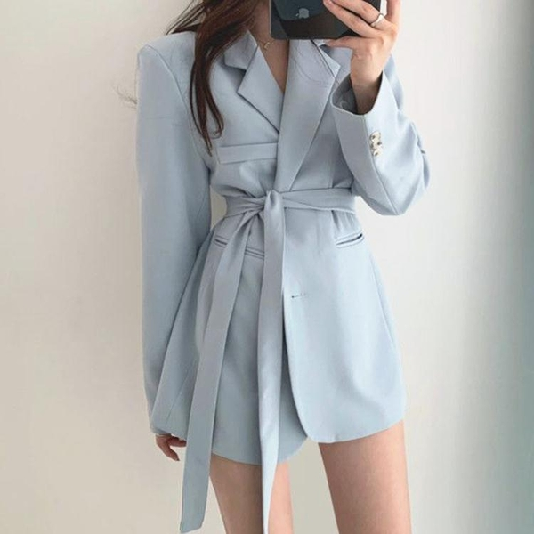 西裝外套韓國chic優雅法式西裝領兩粒扣繫帶收腰顯瘦雙口袋寬鬆西服外套女 雙11 伊蘿
