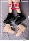 馬丁靴女英倫風2020秋季新款百搭秋款內增高潮鞋瘦瘦網紅加絨短靴(pinkq 時尚女裝)