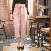 東京著衣【YOCO】法式微甜多色附綁帶荷葉邊長褲-S.M.L(171925)
