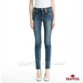 BRAPPERS 女款 新美腳Royal系列-中腰彈性皮料窄管褲-藍