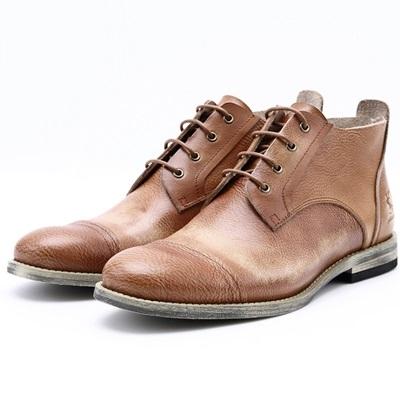 真皮中筒靴-繫帶復古做舊英倫時尚男靴子3色73kk36【巴黎精品】