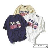 韓國原宿寬松日系復古潮牌字母印花學生男女情侶短袖T恤