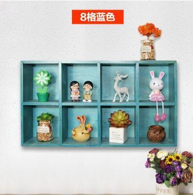 美式鄉村實木壁掛收納格服裝店鋪客廳創意牆上裝飾品掛飾壁飾掛件  8格