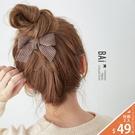 髮夾 復古風燈芯絨蝴蝶結金屬髮飾-BAi白媽媽【306220】