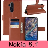 【萌萌噠】諾基亞 Nokia 8.1  商務簡約 荔枝紋保護殼 全包側翻皮套 支架磁扣 可插卡軟殼 手機殼