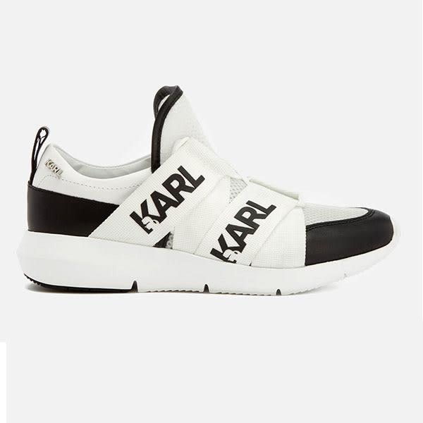 Karl Lagerfeld 卡爾 老佛爺女鞋 VITESSE 輕量LOGO網布運動鞋-黑白
