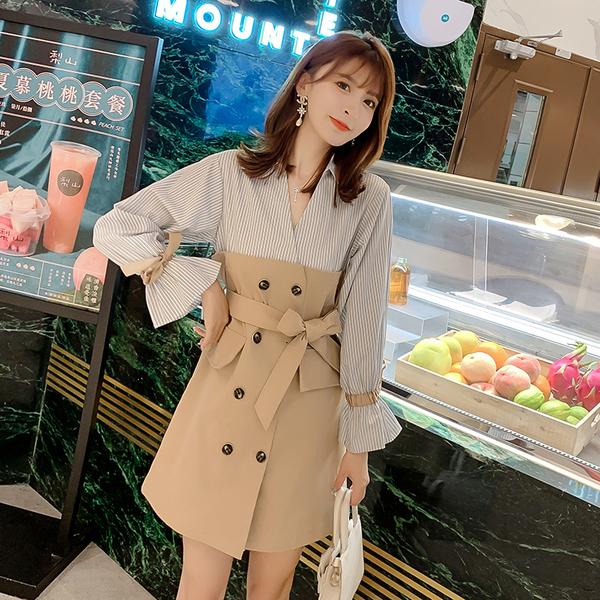 絕版出清 韓系假兩件拼接襯衫蝴蝶結喇叭袖長袖洋裝
