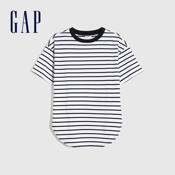 Gap女裝 簡約風格純色質感厚磅短袖T恤 629535-海軍藍條紋