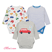 Moms care棉感長袖三角包屁衣 三件組 雙層巴士 連身裝 嬰兒裝 哈衣 兔裝