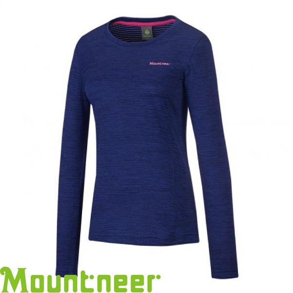 【Mountneer 山林 女款 圓領雲彩針織保暖衣《寶藍》】22P18/吸濕排汗/長袖衣