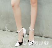 高跟涼鞋 中大尺碼新款時尚拼色包頭女鞋夏季細跟小碼韓版百搭鞋 DR25152【男人與流行】