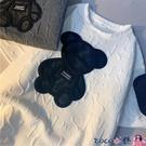 熱賣短袖T恤 超火T恤女春秋磨毛小熊短袖圓領打底衫韓版潮外穿寬鬆半袖上衣【618 狂歡】