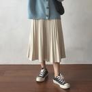 金絲絨半身裙 秋冬季搭配毛衣的金絲絨長裙年百褶半身裙女中長款杏色款 唯伊時尚