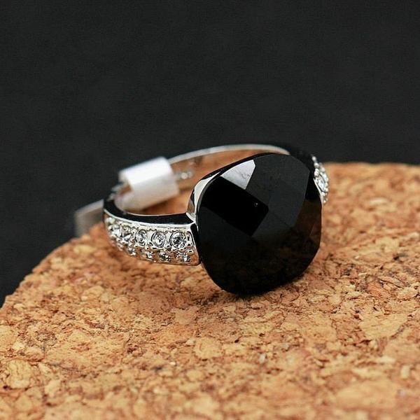 黑曜石瑪瑙飾品日韓時尚女歐美復古夸張鑲鑽個性裝飾食指指環戒指