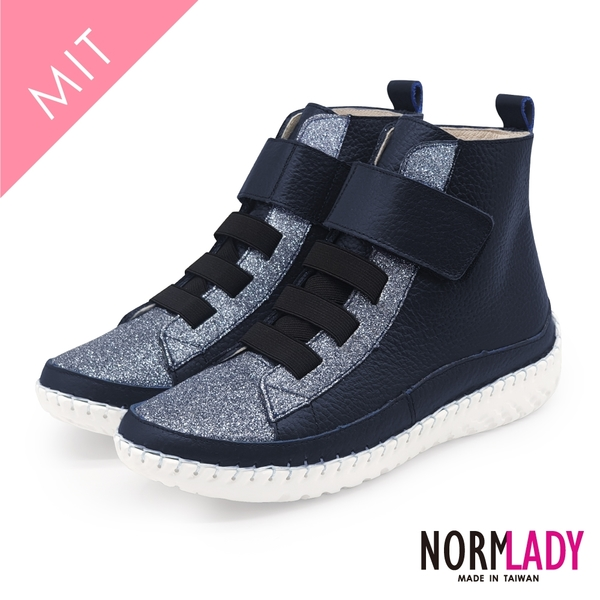 女鞋 真皮短靴 氣墊 時尚拼接俐落黏貼厚底高階版球囊氣墊短靴-MIT手工鞋(自信藍) Normlady 諾蕾蒂