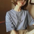 2019夏季新款韓版素色寬鬆顯瘦簡約大碼女裝純棉T恤女上衣打底衫 雙12