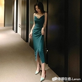 晚禮服 新款高貴大氣優雅性感露背修身中長款宴會晚禮服吊帶洋裝女 618購物節