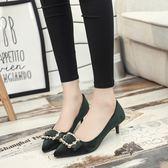 3色 低跟鞋 秋季單鞋女中跟尖頭高跟鞋女細跟淺口絨面方扣3cm低跟鞋女鞋 巴黎時尚