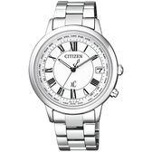 CITIZEN 星辰 xC 金艷動人電波對時鈦金屬女腕錶-銀CB1100-57A