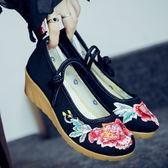 亞麻燙鑽 坡跟牛筋底盤扣 民族風繡花布鞋【多多鞋包店】z6741