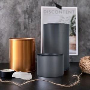 【Meric Garden】創意北歐ins風鐵罐/盆栽收納罐(有蓋)玫瑰金-3入/組-大+