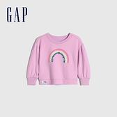 Gap女幼童 碳素軟磨系列 法式圈織可愛圓領休閒上衣 753960-粉色