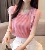 中大尺碼 雪紡衫短袖女裝2018夏季新款潮韓版無袖洋裝上衣超仙甜美洋氣 AW445『男人範』