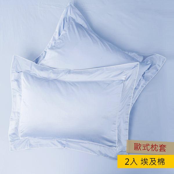 HOLA 艾維卡埃及棉刺繡歐式枕套 2入 藍色