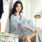 限定款浴袍條紋睡衣女夏季日系和服棉質兩件套裝日式長袖家居服性感古典春秋