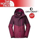 【The North Face 女 DV兩件式防水外套《酒紅》】3KQX/DryVent/保暖外套/連帽外套/戶外登山