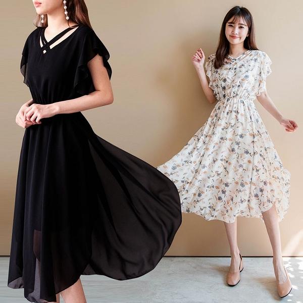MIUSTAR 氣質女神雙交叉領側開衩雪紡洋裝(共5色)【NJ1100】預購