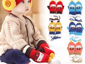 冬季新品上市【JF0050】韓系汽車造型加絨毛線寶寶保暖手套/機器人卡通手套/毛絨手套(1-4歲)