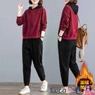 熱賣運動套裝 加絨加厚休閒運動服套裝女2021秋冬季寬鬆連帽時尚大碼衛衣兩件套 coco
