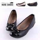 [Here Shoes]包鞋-舒適乳膠鞋墊 跟高5CM 皮質拼接亮皮 楔型鞋 包鞋 娃娃鞋MIT台灣製-KN877